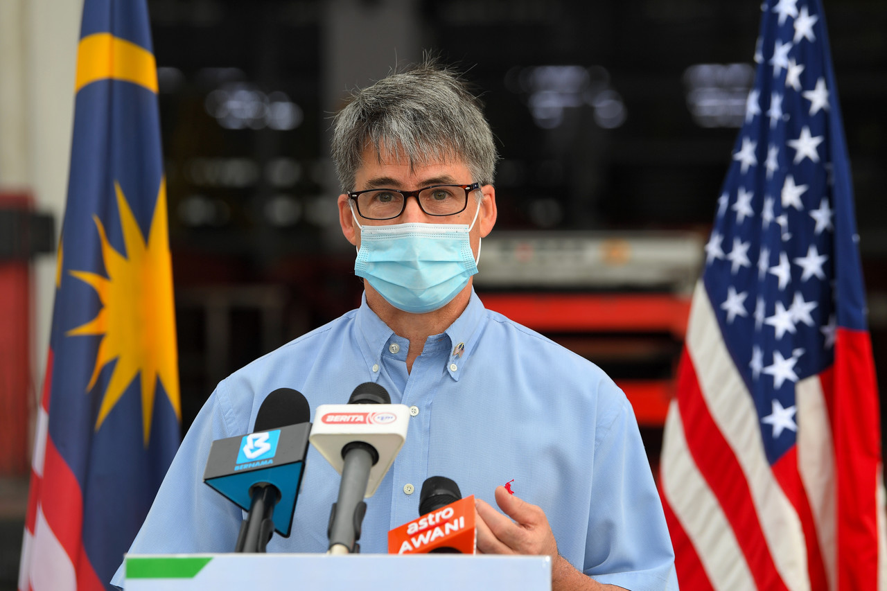 File picture shows United States Ambassador to Malaysia Brian Mcfeeters at a press conference after welcoming the arrival of one million doses of Pfizer-BioNTech vaccine donated by the United States at Raya Complex, Subang, July 5, 2021. — Bernama pic