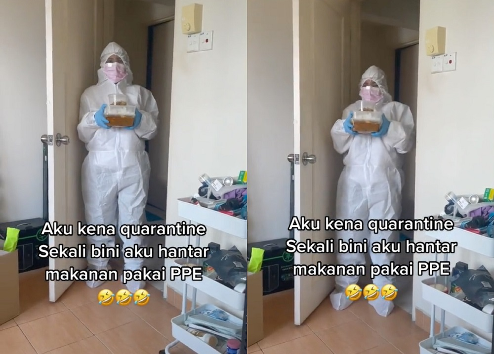 Haqif initially mistook his wife for a Health Ministry staff member when she showed up at his door in full PPE. — Screen capture via TikTok/ThechknKL