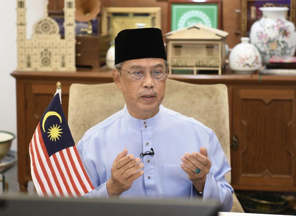 Prime Minister Tan Sri Muhyiddin Yassin attends the 'Malaysia Berzikir' programme broadcast live on TV1, Kuala Lumpur, July 22, 2021. — Bernama pic