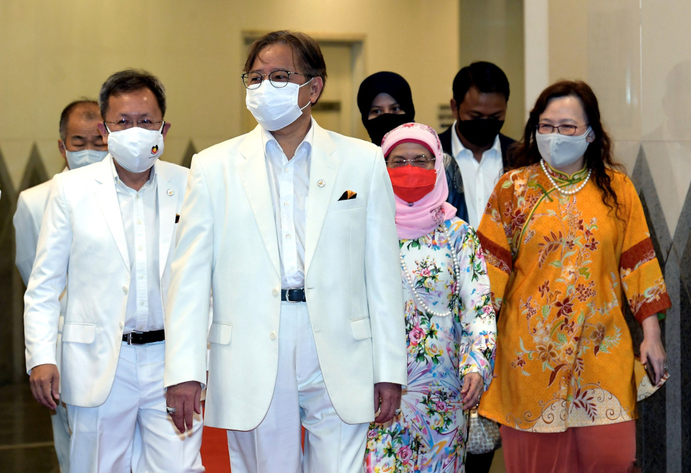 Chief Minister Datuk Patinggi Abang Johari Openg at the Sarawak Day 2021 celebration at the Sarawak State Assembly in Kuching, July 22, 2021. — Bernama pic