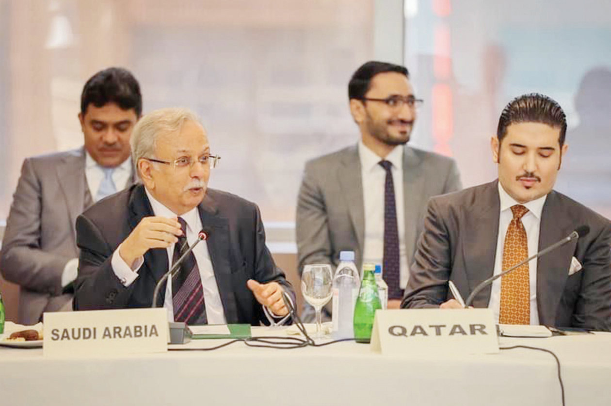 Ambassador Abdallah Al-Mouallimi attends a joint meeting with between the Libyan Government of National Unity PM Abdul Hamid Dbeibeh and members of the Group of Arab States at the UN on Saturday. (SPA)