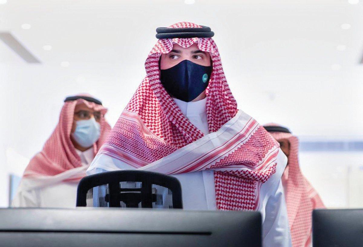 Saudi Interior Minister Prince Abdul Aziz bin Saud bin Naif at Mina's command and control center on Monday. (SPA)