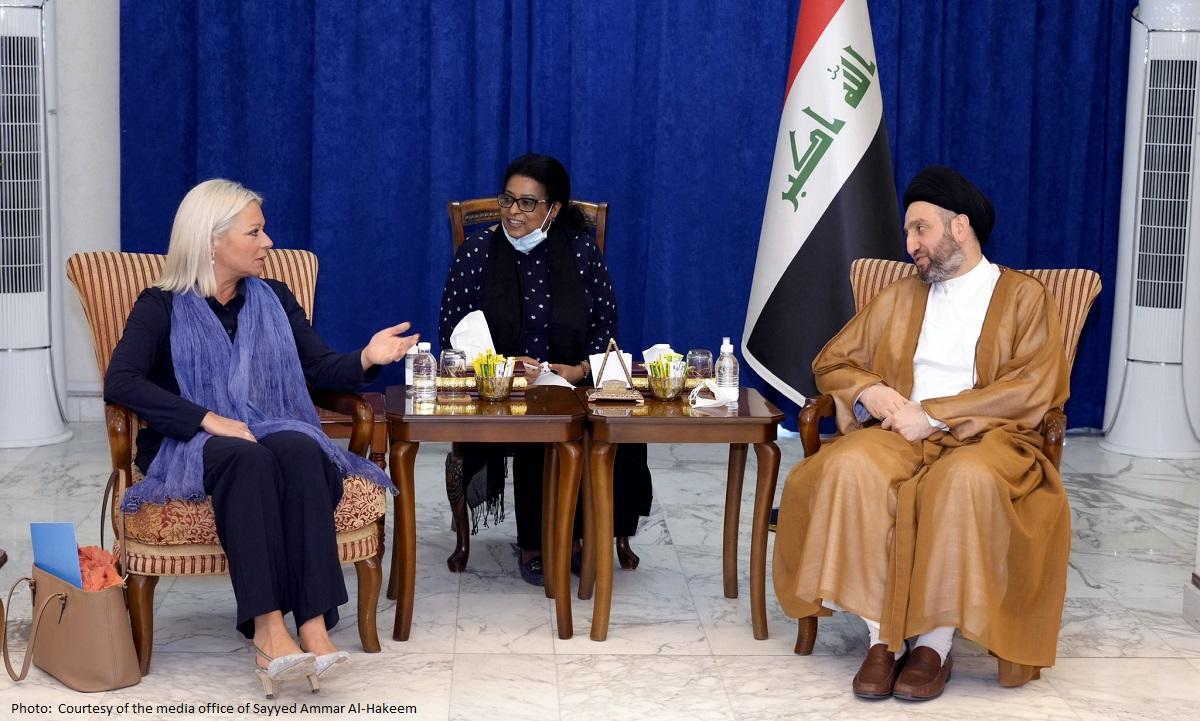 UN envoy to Iraq Jeanine Hennis-Plasschaert meets Head of the Al-Hikma National Movement, Sayyid Ammar Al-Hakim. (Twitter/@UNIraq)