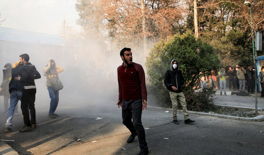 In this photo taken by an individual not employed by the Associated Press and obtained by the AP outside Iran, university students attend a protest inside Tehran University, in Tehran, Iran, Dec. 30, 2017. (AP)