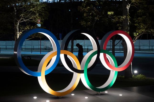 Olympics rings statue