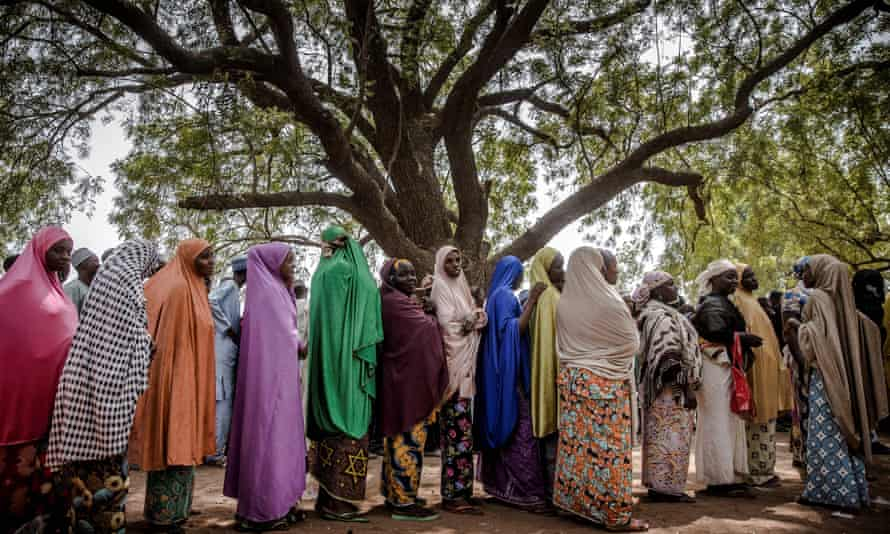 Women queue to vote, Malkohi refugee camp, Nigeria
