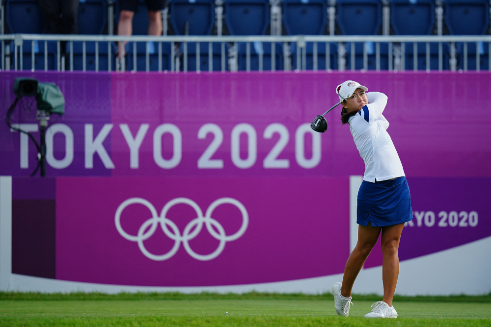 Malaysia's Kelly Tan watches her drive from the 1st tee in round 1 of the women's golf individual stroke play during the Tokyo 2020 Olympic Games at the Kasumigaseki Country Club in Kawagoe on August 4, 2021. ― AFP pic