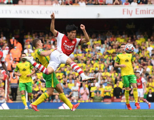 Takehiro Tomiyasu of Arsenal during the Premier League match between Arsenal and Norwich City