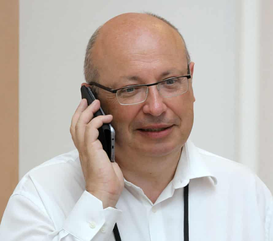 In this file photo taken on August 25, 2019 French ambassador Jean-Pierre Thebault speaks on his mobile phone