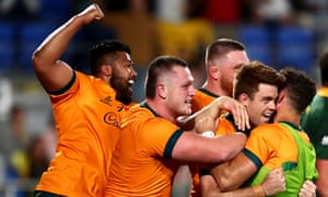 Andrew Kellaway of the Wallabies celebrates after scoring a try