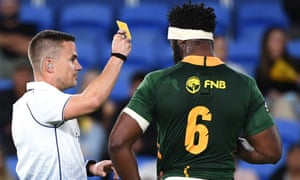 Springboks player Duane Vermeulen receives a yellow card