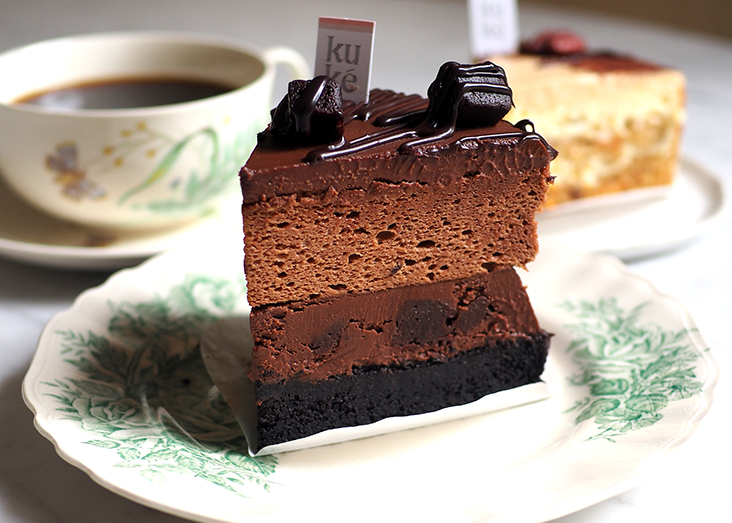 Chocolate lovers will relish their 5 Shades of Chocolate with its many layers topped with brownie cubes.