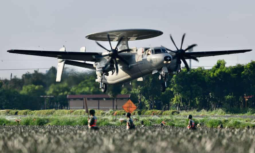 A US-made E2K Early Warning Aircraft takes off from a road in Pingtung.