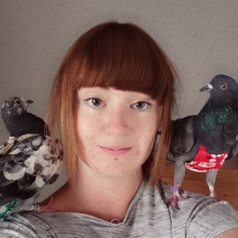 British woman Meggy Johnson hopes to change the negative stereotype of pigeons and show that they are intelligent, sweet animals that make great pets and deserve to be given a chance at life. — Picture via Facebook/Meggy Johnson