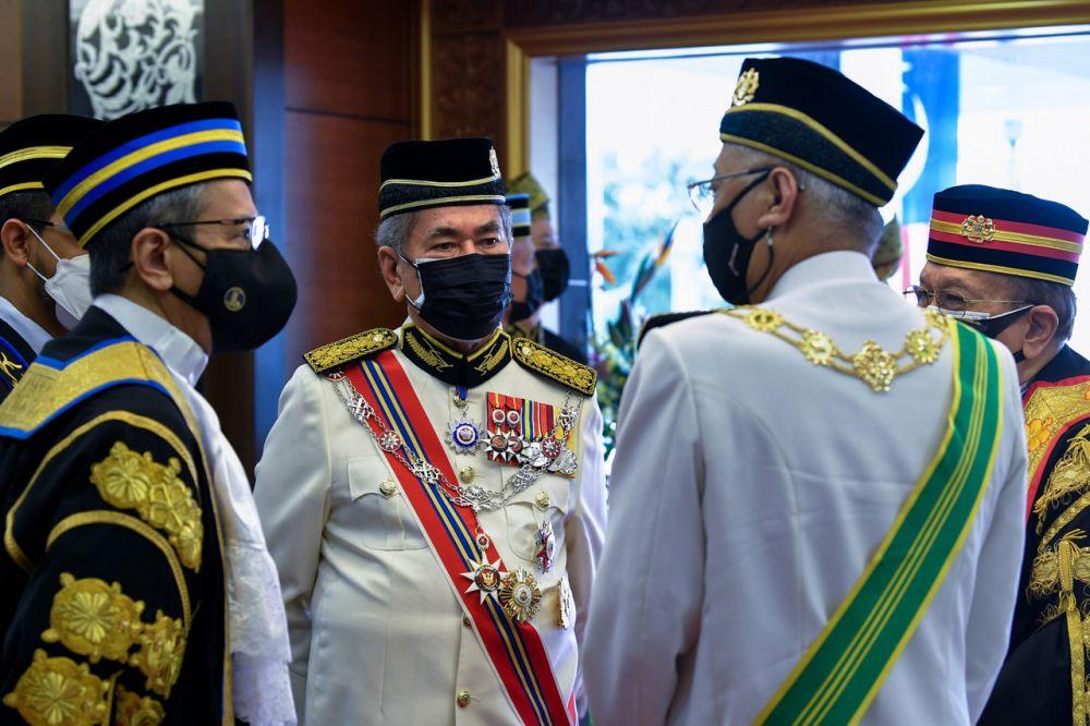 Datuk Seri Wan Junaidi Tuanku Jaafar (centre) is pictured at Parliament, Kuala Lumpur September 13, 2021. — Bernama pic