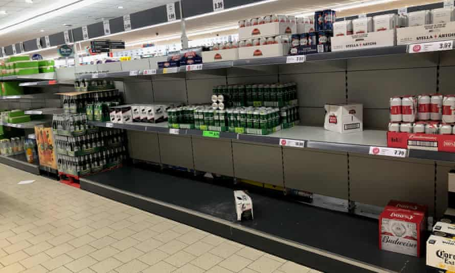 Empty shelves at a Lidl in Durham.