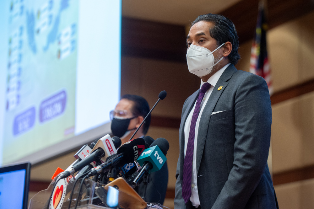 Health Minister Khairy Jamaluddin speaks at a press conference in Putrajaya, September 1, 2021. — Picture by Shafwan Zaidon