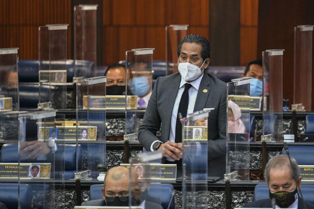 Health Minister Khairy Jamaluddin addresses members of Parliament, Kuala Lumpur September 15, 2021. — Bernama pic