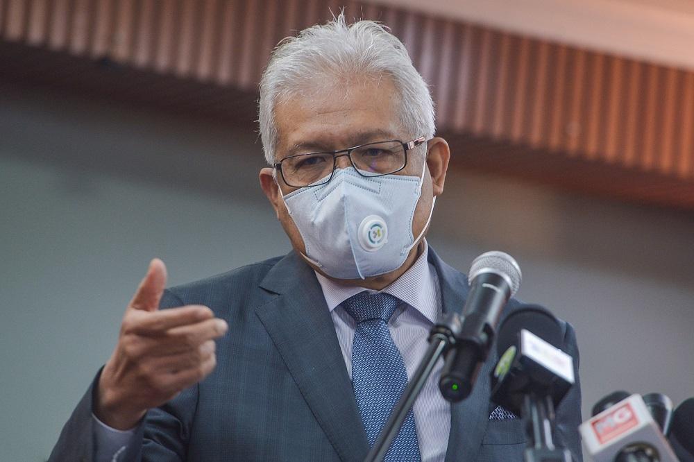 Home Minister Datuk Seri Hamzah Zainudin speaks during a press conference in Putrajaya September 1, 2021. ― Picture by Miera Zulyana