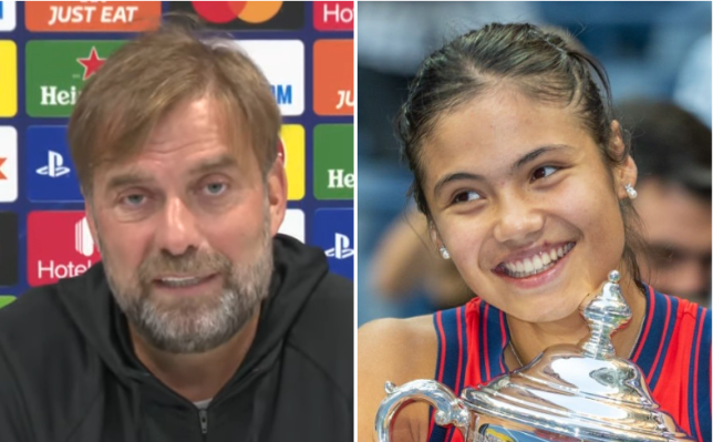 Jurgen Klopp was inspired by Emma Raducanu's US Open victory