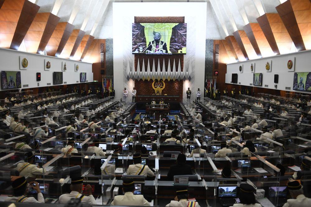 Yang di-Pertuan Agong Al-Sultan Abdullah Ri'ayatuddin Al-Mustafa Billah Shah delivers the royal address during the opening of the first meeting of the fourth term of the 14th Parliament in Kuala Lumpur September 13, 2021. — Bernama pic