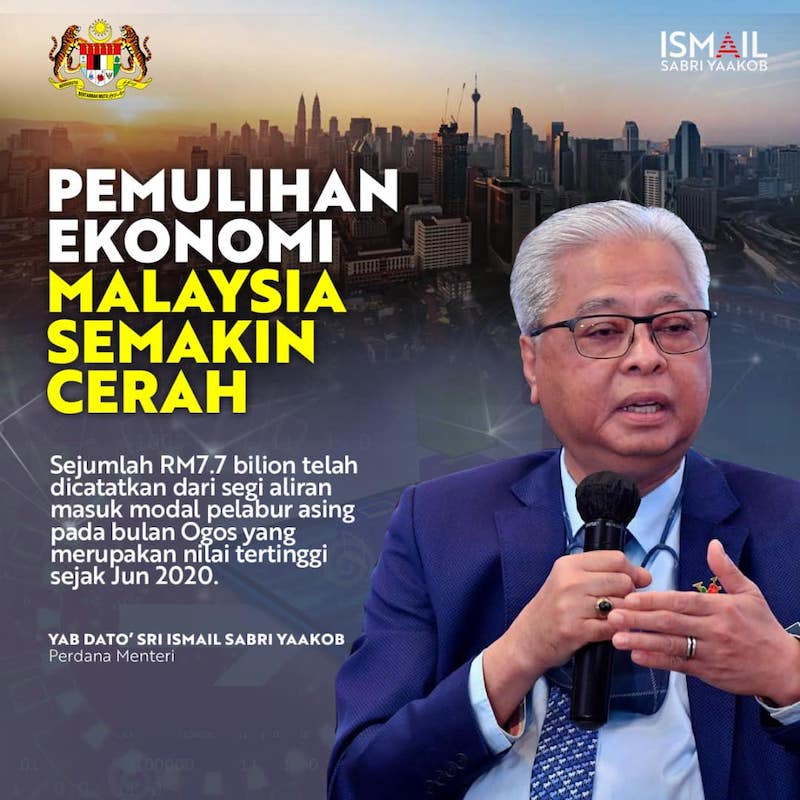Prime Minister Datuk Seri Ismail Sabri Yaakob said this positive indicator has set the tone and direction for a  stronger economic recovery for the fourth quarter of 2021. — Picture via Facebook/Ismail Sabri