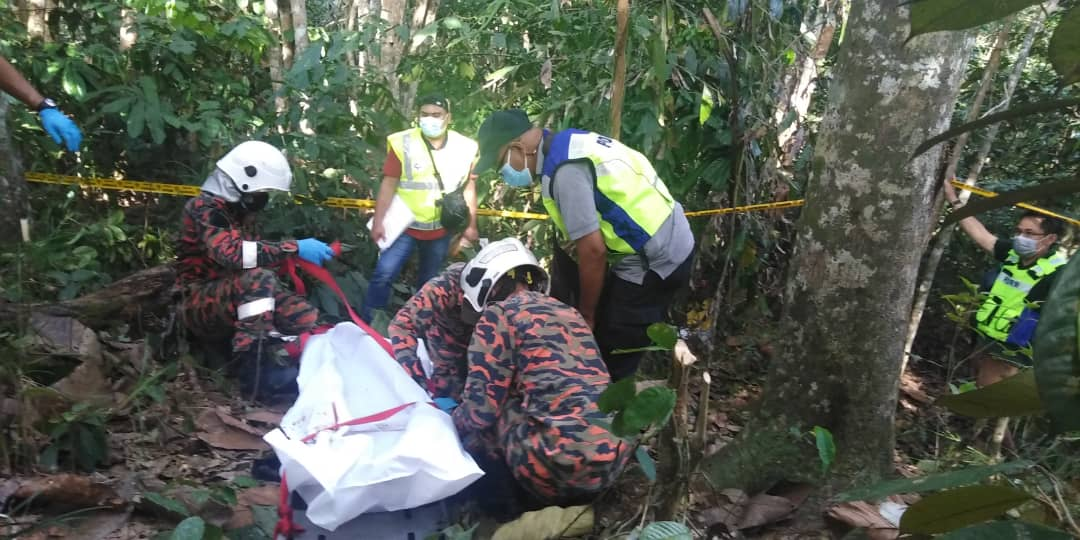 3.Firefighters and police are seen with the body after it was brought down from the tree. — Picture courtesy of Miri Fire and Rescue Department
