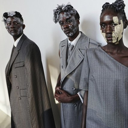 Designer Thom Browne's spring 2020 collection, unveiled at New York Fashion Week at The Shed, on Saturday, September 11, explored classic suiting, with twists like missing pieces, asymmetrical sleeves, and various skirts for men. Photo: Invision/AP