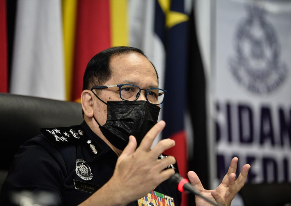 Bukit Aman Traffic Investigation and Enforcement Department director Datuk Azisman Alias speaks at a press conference at Bukit Aman, September 24, 2021. — Bernama pic