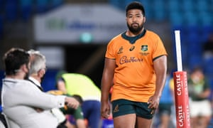 Folau Fainga'a of the Wallabies leaves the field after receiving a yellow card