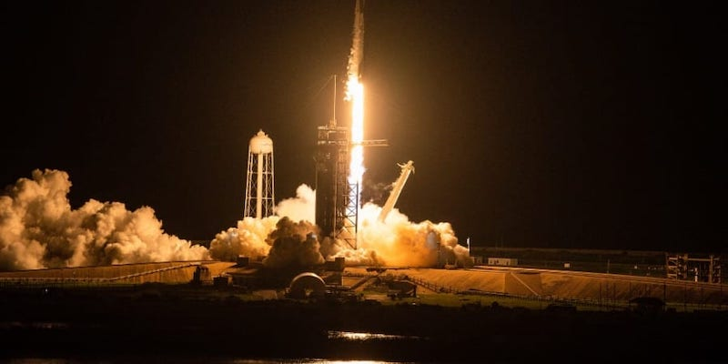 The SpaceX Falcon 9 rocket carrying the Inspiration4 crew launches from Pad 39A at NASA's Kennedy Space Centre in Cape Canaveral, Florida on September 15, 2021. — ETX Studio pic