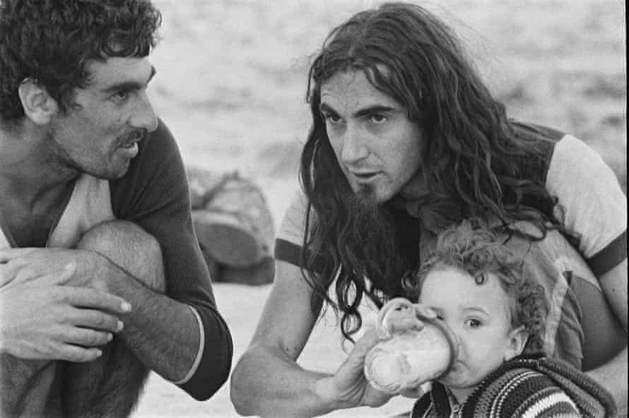 Singer-songwriter Pau Rina with his son on a commune in Formentera