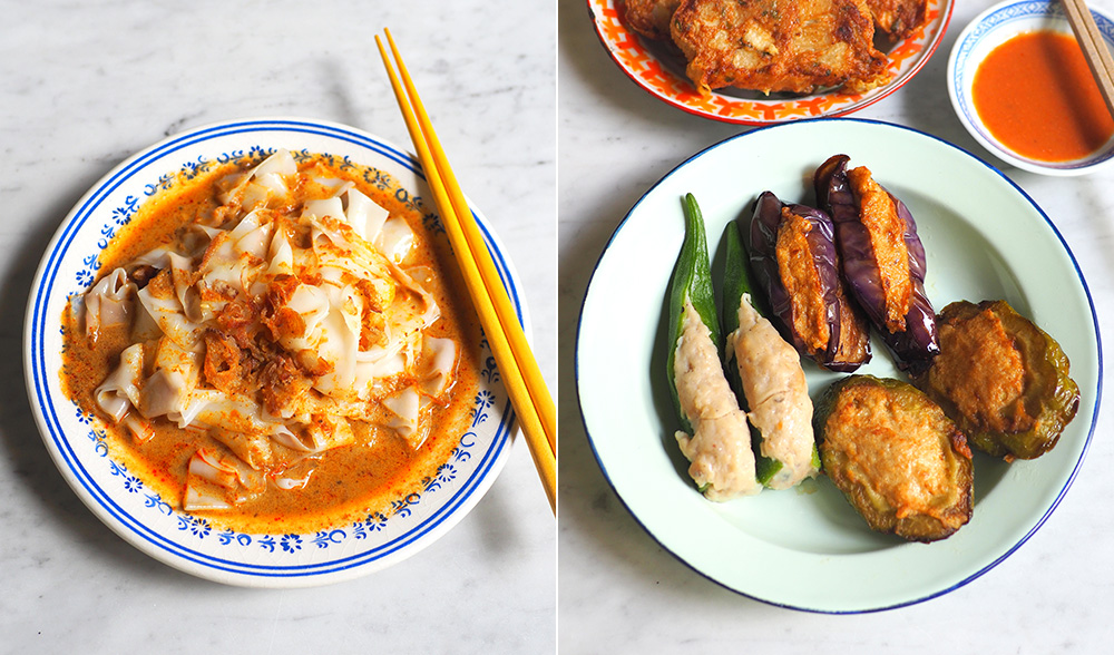 Select a variety of 'yong tau foo' or 'yong liew' as it is called in Ipoh that is generously stuffed with fish paste (left). If you prefer 'chee cheong fun', there's a curry sauce version too (right).