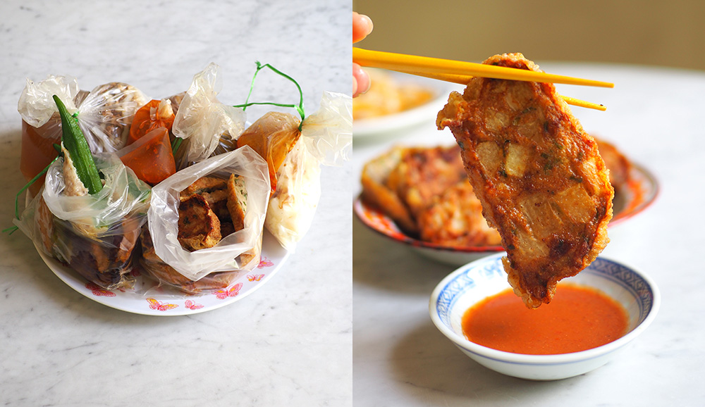The highlight is their 'sar kok liew' stuffed with crunchy yam bean to be paired with their tangy chilli sauce (left). It will be hard to resist the charms of this stall with their delicious food especially the 'yong liew' (right).