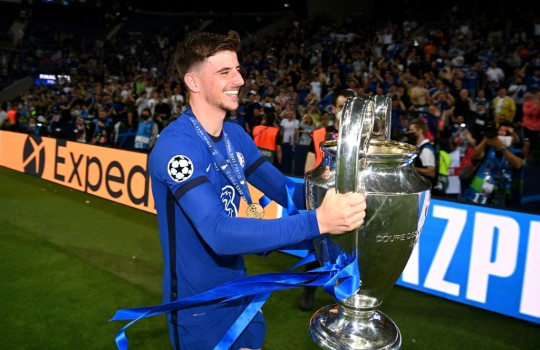 Mason Mount celebrating the Champions League final win against Manchester City.
