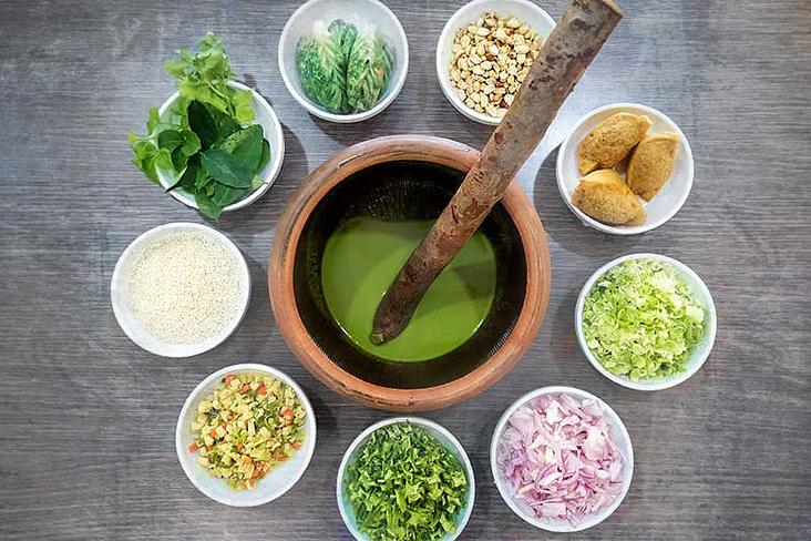 Some 'thunder tea' ingredients and Hakka dishes.