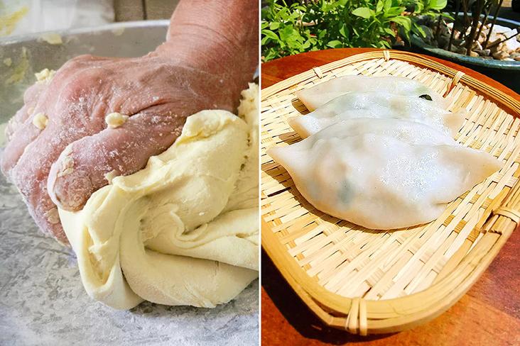 Kneading dough to make 'choi pan' dumplings.