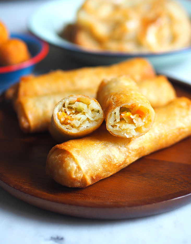 The rolls are stuffed with a sweet tasting yam bean, carrots and sliced long beans.