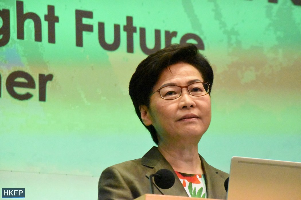 Chief Executive Carrie Lam at a press conference after delivering her 2021 Policy Address. Photo: Candice Chau/HKFP.