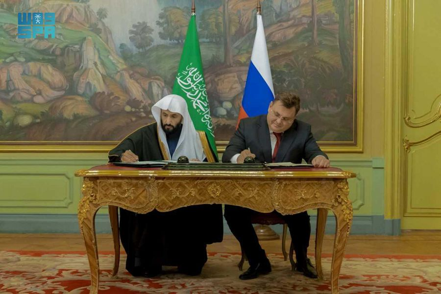 The agreement was signed by the Saudi Minister of Justice Walid Al-Samaani and his Russian counterpart Konstantin Chuychenko in the capital, Moscow. (SPA)
