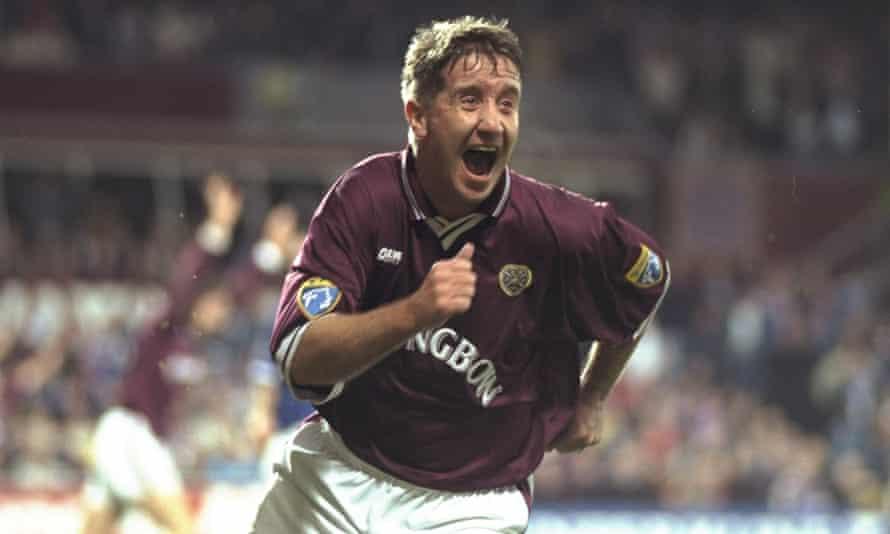 John Robertson celebrates after scoring for Hearts against Rangers in December 1997.