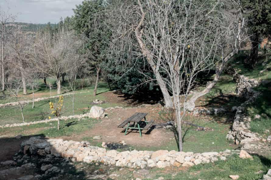 'Greenery is used to hide the crimes' … an Israeli picnic area now occupies the site of Al-Qabu, a former Palestinian village.