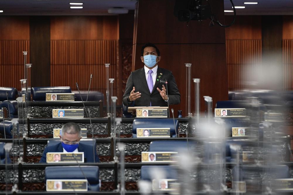Deputy Finance Minister I Mohd Shahar Abdullah winding up the debate on the bill at the Dewan Rakyat, October 12, 2021. — Bernama pic