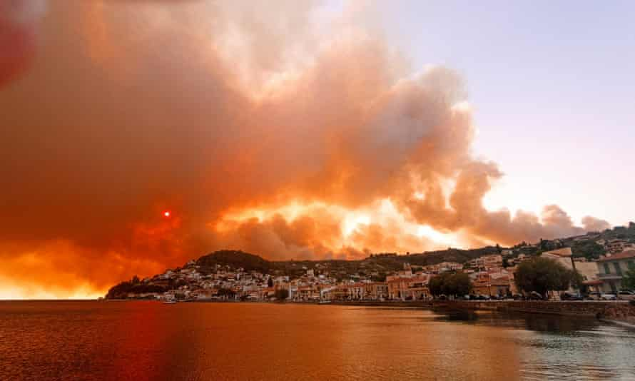 Flames burn on the mountain near Limni village on the island of Evia, on 3 August.