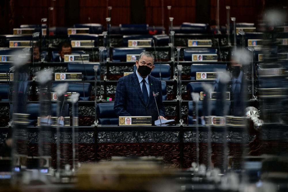 Senior Works Minister Datuk Seri Fadillah Yusof at the Dewan Rakyat in Parliament, October 12, 2021. — Bernama pic