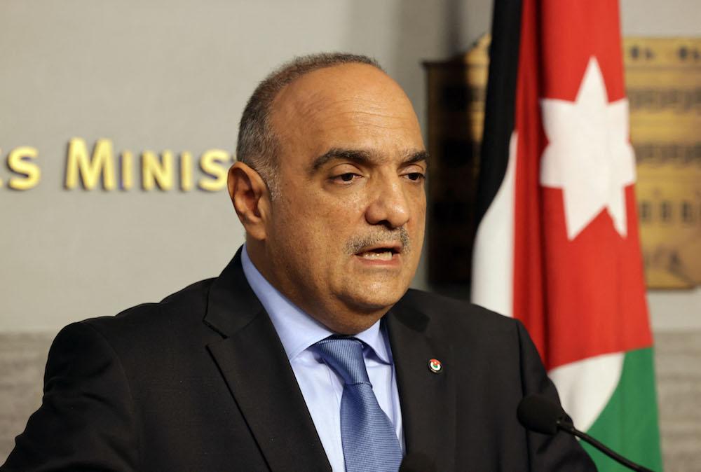 Jordanian Prime Minister Bisher al-Khasawneh talks during a press conference on Sept. 30, 2021. (AFP)