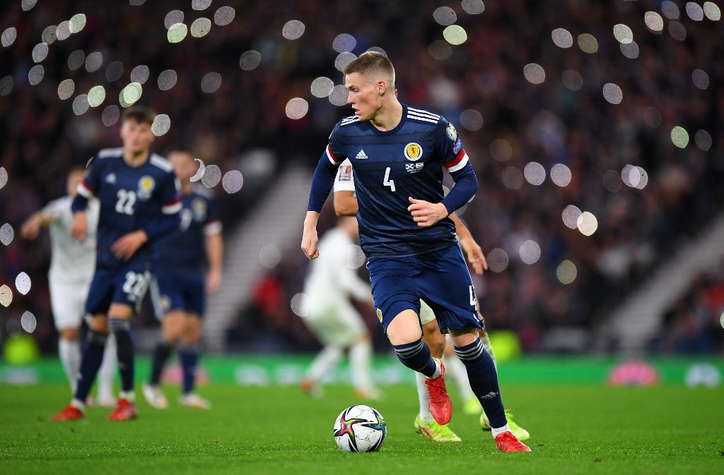 Scotland's midfielder Scott McTominay runs with the ball during the Fifa World Cup Qatar 2022 Group F qualification football between Scotland and Israel at Hampden Park in Glasgow on October 9, 2021. — AFP pic