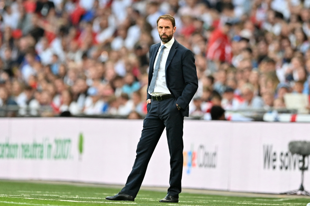 England's manager Gareth Southgate looks on from the touchline during the Fifa World Cup 2022 qualifying match between England and Andorra at Wembley Stadium in London, September 5, 2021. — AFP pic