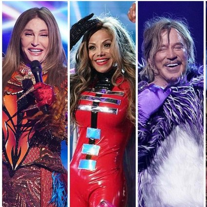 Some of the biggest names and biggest surprises from the first five seasons of The Masked Singer US, including, from left, Caitlyn Jenner, La Toya Jackson, Mickey Rourke, JoJo Siwa and Sarah Palin. Photo: Fox