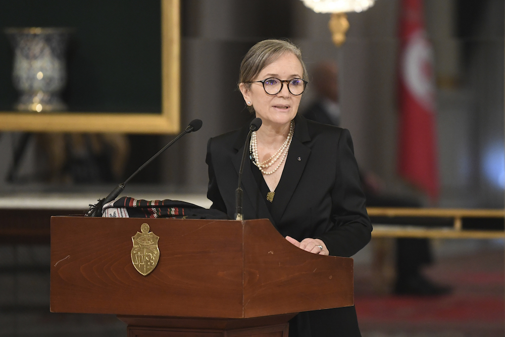 Tunisian Prime Minister Najla Bouden talks during the the swearing-in ceremony of the new government, Monday, Oct.11, 2021 in Tunis. (Tunisian Presidency via AP)